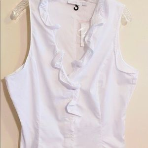 NWT NY&C ruffles blouse! Very pretty, fitted. XL